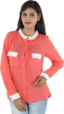 Aimeon Women's Solid Casual Orange, White Shirt