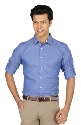 Nord51 Men's Solid Formal Blue Shirt