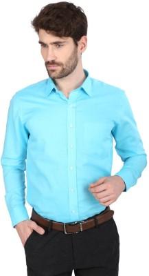 Big Tree Men,s Solid Formal Linen Blue Shirt