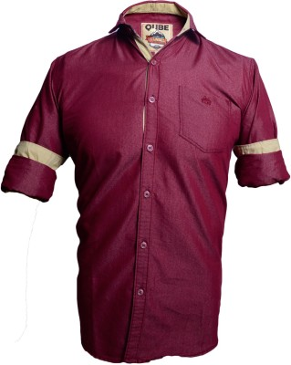 QUBE Men's Solid Casual, Party Maroon Shirt