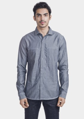 Bhane Men's Solid Casual Grey Shirt