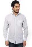 Olive Men's Printed Casual White Shirt