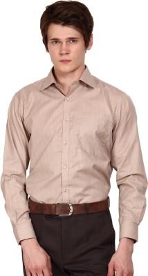 I-Voc Men's Solid Formal Brown Shirt