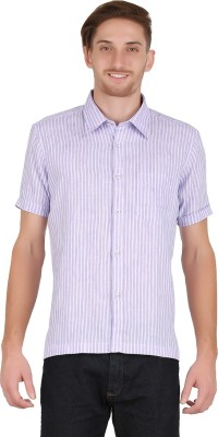 All Times Men's Striped Casual Linen Purple Shirt