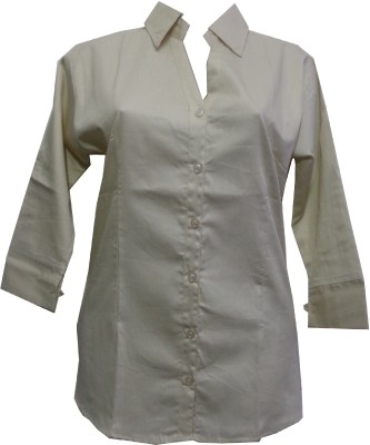 fashion point Women's Solid Formal Beige Shirt