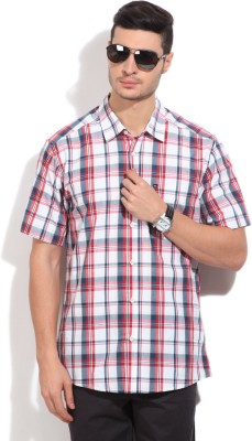 Quiksilver Men's Checkered Casual White, Blue, Red Shirt