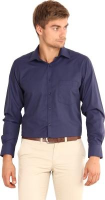I-Voc Men's Solid Formal Blue Shirt