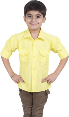 Ice Blue Boy's Solid Casual Yellow Shirt