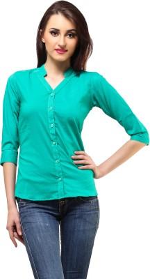 Cation Women's Solid Formal Green Shirt at flipkart