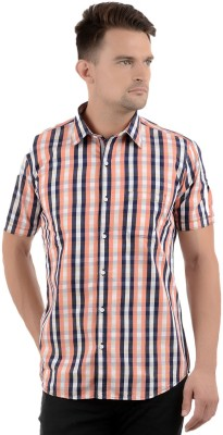 Cairon Men's Checkered Casual Orange Shirt