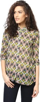 Love From India Women's Geometric Print Casual Yellow Shirt