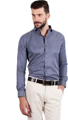 SOLEMIO Men's Striped Casual Blue Shirt