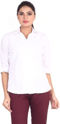 Valeta Women's Solid Formal Linen White Shirt