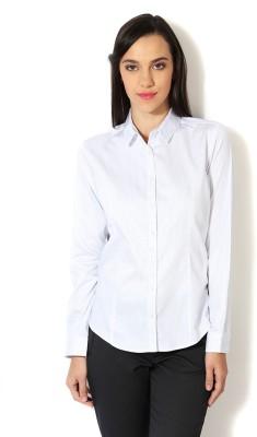 Van Heusen Women's Striped Formal White Shirt