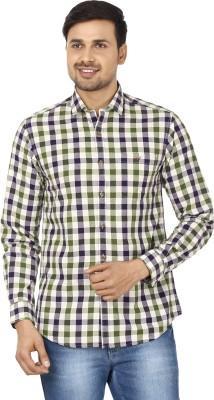 Wills Lifestyle Men's Checkered Casual Green, Dark Blue Shirt