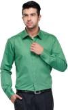 Makhkha Men's Solid Formal Green Shirt