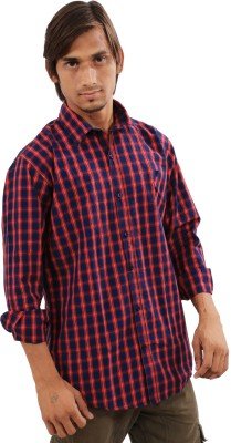 IndiWeaves Men's Checkered Casual Red, Blue Shirt