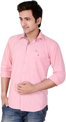 Anry Men's Solid Casual Pink Shirt