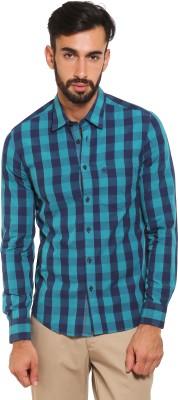 Classic Polo Men's Checkered Formal Blue Shirt