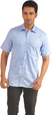Sterling Men's Self Design Formal Blue Shirt
