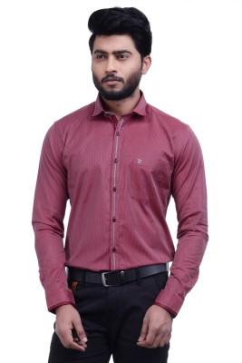 Hoffmen Men's Self Design Casual Maroon Shirt