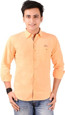 Anry Men's Solid Casual Orange Shirt
