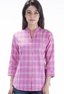Peppermint Blues Women's Checkered Casual Pink Shirt