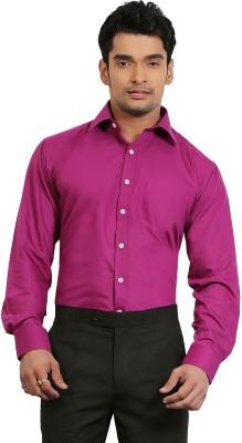 A & C Signature Men's Solid Casual Pink Shirt