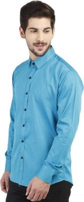 Marcello And Ferri Men's Printed Casual Blue Shirt
