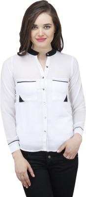 Osumfab Women's Solid Casual White Shirt