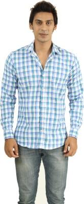 Frissk Men's Checkered Casual Blue, Green, White Shirt
