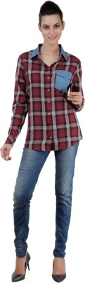 Pret a Porter Women,s Checkered Casual Red Shirt