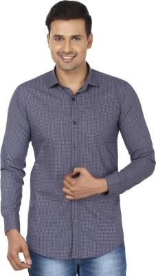 Edinwolf Men's Printed Casual Blue, White Shirt