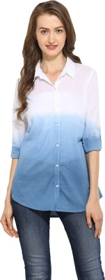 Free & Young Women's Solid Casual White, Blue Shirt