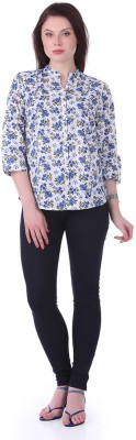1 For Me Women's Floral Print Casual Blue Shirt