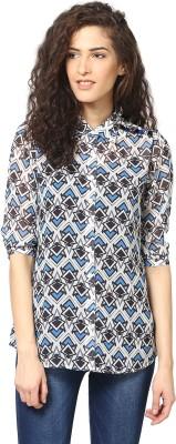 Love From India Women's Geometric Print Casual Blue Shirt
