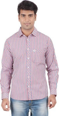 Anytime Men's Striped Casual Pink, Red Shirt