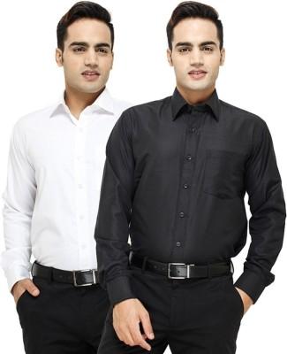 Siz Fashion Men's Solid Formal White, Black Shirt