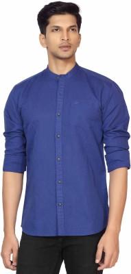 La Seven Men,s Solid Casual Blue Shirt