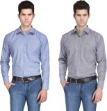 Ausy Men's Solid Casual Blue, Grey Shirt...