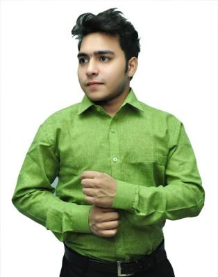 Fashion Tree Men's Solid Formal Green Shirt
