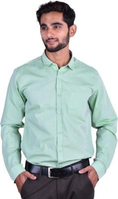 Cortos Men's Self Design Formal Light Green Shirt