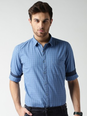 Mast & Harbour Men's Checkered Casual Blue Shirt