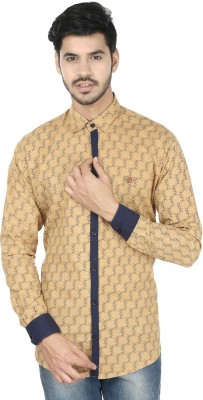 Perky Look Men's Printed Casual Brown, Blue Shirt
