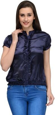 Vemero Women's Solid Party Dark Blue Shirt