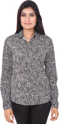 Mallika Womens Printed Casual Black, White Shirt