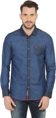Being Human Men's Solid Casual Blue Shirt