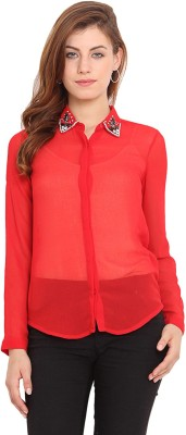 Ama Bella Women's Solid Casual Red Shirt