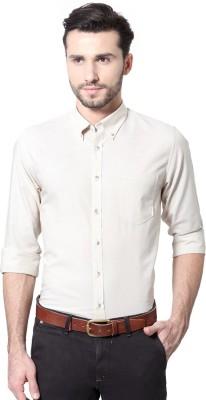 Peter England Men's Solid Casual Beige Shirt