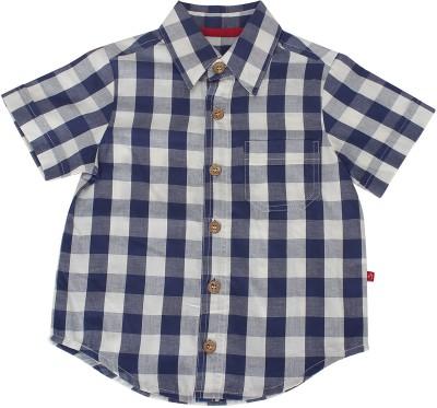 Nino Bambino Boy's Checkered Casual White Shirt